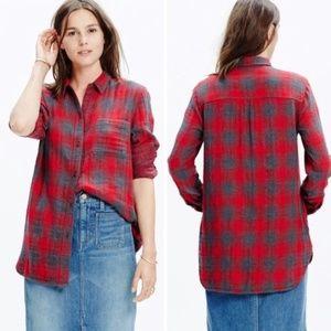 Madewell Ex-Boyfriend Red Gray Contrast Flannel